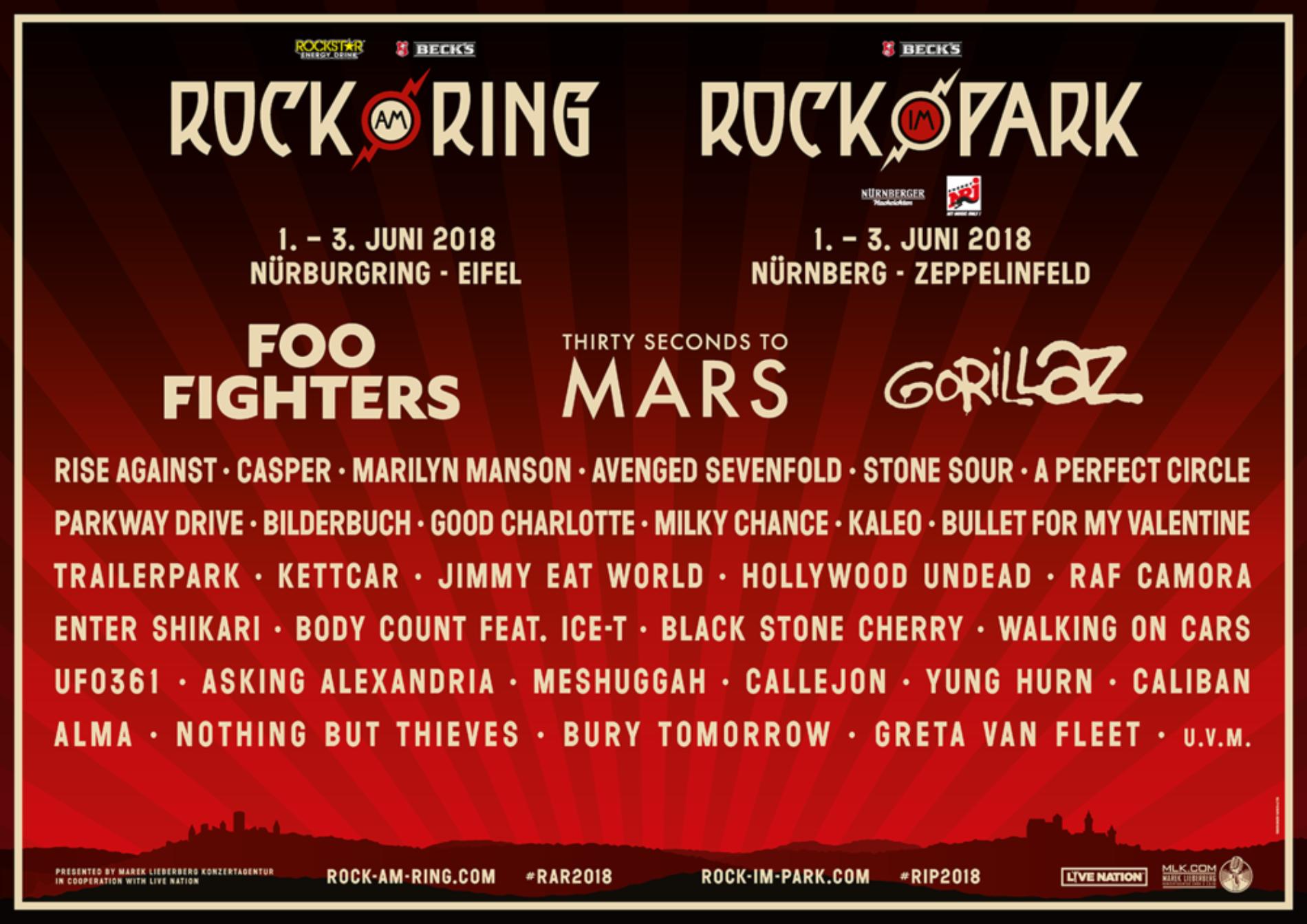 Rock am Ring und Rock im Park präsentieren Lineup 2018