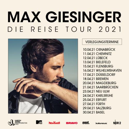 Max Giesinger – Die Reise 2021 – Tourverschiebung!